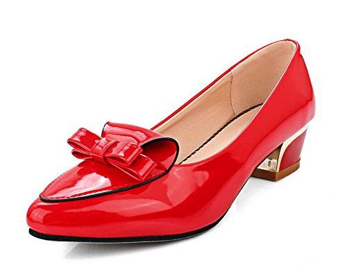 AgooLar Femme Pointu à Talon Bas Tire Couleur Unie Chaussures Légeres Rouge