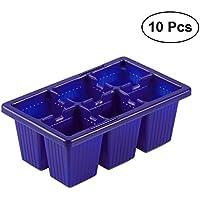 BESTOMZ 10pcs Bandejas de iniciación de plántulas Bandejas de germinación de semillas Bandejas de germinación, 6 células por planta de cultivo de bandeja (azul)