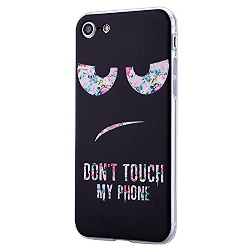 HB-Int 3 in 1 Custodia per Apple iPhone 7 (4.7 pollici) TPU Silicone Cassa Soft Silicone Case Bumper Morbida Cover Ultra Sottile Leggero Custodia Flessibile Liscio Caso Anti Graffio Anti Scossa Anti S DONT TOUCH MY PHONE