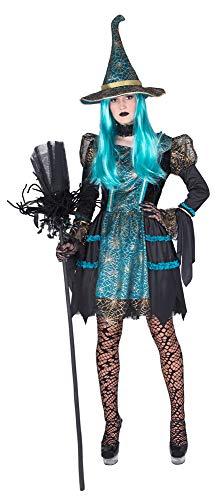 Hexe Petrol Patty Kostüm für Damen - Kurz Gr. 44/46 (Kurzer Kostüm Set)