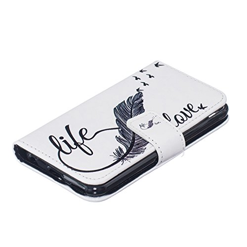 Coque pour iPhone iPod Touch 5, Etui pour iPod Touch 6, ISAKEN Peinture Style Soulagement de la couleur PU Cuir Flip Magnétique Portefeuille Etui Housse de Protection Coque Étui Case Cover avec Stand  Plume noire