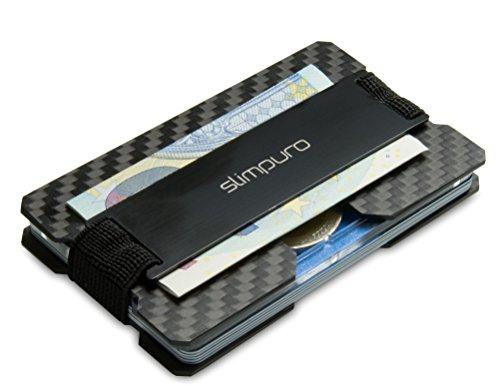 Premium Carbon Kartenetui mit Münzfach und Metal Geldklammer für bis zu 16 Karten – RFID / NFC Schutz – Slim Wallet - Carbon Etui