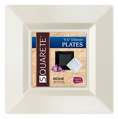 ll Bone Abendessen Square Party Teller Hartplastik Elegante Einweg 10, quadratisch, Elfenbeinfarben Speisetellern Pro Paket ()
