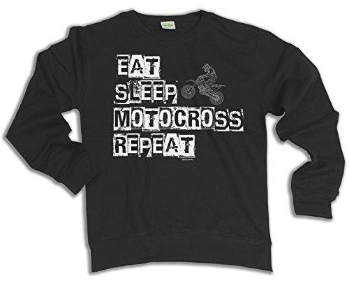 Eat Sleep MOTOCROSS Repeat Motorbike Scelta di con cappuccio o un maglione Uomo Donna Unisex (Sweater) Black
