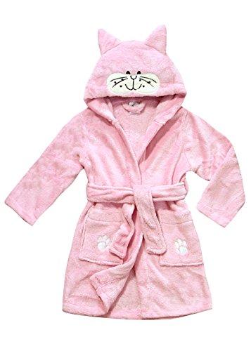 Wellness-kleid (Kinder Bademantel für Jungen Mädchen Morgenmantel verschiedenen farben (110/116, Rosa))