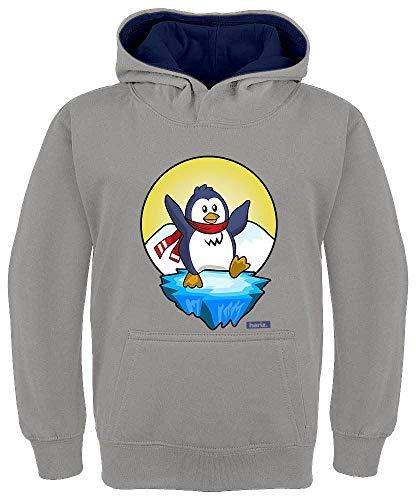 HARIZ Kinder Hoodie Kapuzenpullover Kontrast Pinguin Schal Fröhlich Tiere Kindergarten Plus Geschenkkarten Hell Grau/Navy Blau 128/7-8 Jahre