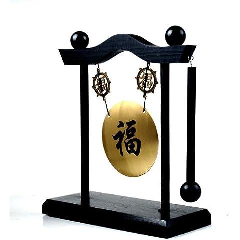 Gong Decoración sobre zócalo, idéogramme Bonheur