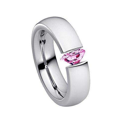 Heideman Ring Damen Harmonia aus Edelstahl Silber farbend poliert Damenring für Frauen mit Swarovski Stein Zirkonia pink im Brillant Schliff 7mm