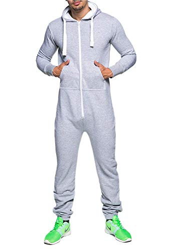 Herren Jumpsuit Fleece Schlafanzug Männer Traininganzug Onesie Schönes elegente Playsuit Herren Einteiler Onesie Overalls Hoodies Nachtwäsche (X-Large, Grau)