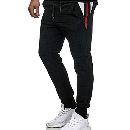 Gestreifter Trainingsanzug für Herren | 2-teiliges Sport-Outfit-Set | Color Block Sweatshirt Hooded Jacket - Elastische Jogger-Jogginghose, Activewear für Fitness/Workout/Straßenlauf - Brusttasche Mit Gestreifter Anzug