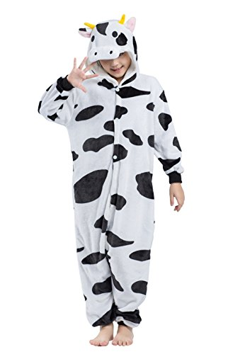 Wamvp Unisex Kinder Flannel Tierkostüme Nachtwäsche Pyjamas Karneval Kostüm-Kleidung Halloween -Kuh (Kinder Für Kuh-pyjama)