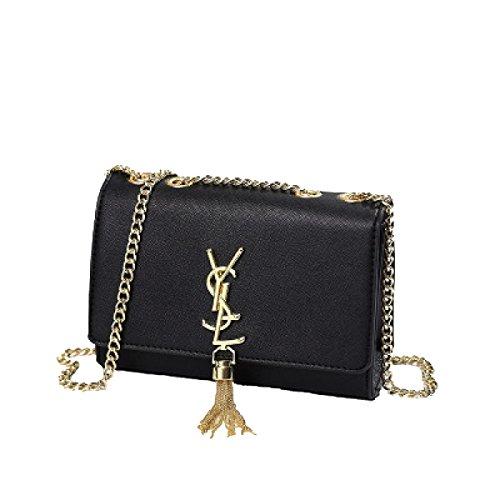 2018 Frauen Sommer Fringe Damentaschen Sets Kette Schultertaschen Mini-Taschen Handtaschen Messenger Bags(Schwarz-21 * 8 * 14.5cm)