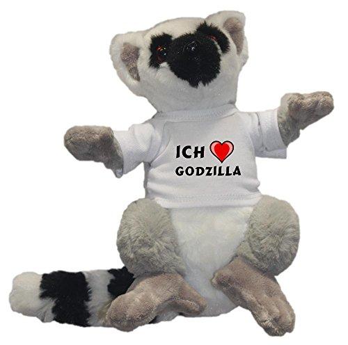 SHOPZEUS Personalisierter Lemur Katta Plüsch Spielzeug mit T-shirt mit Aufschrift Ich liebe Godzilla (Vorname/Zuname/Spitzname)