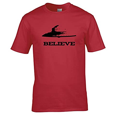 Believe T Shirt UFO Flying Saucer Gift Mens Regular Fit Small - XXLarge Multiple Colours