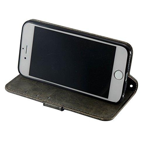 iPhone 6 Plus / 6S Plus Coque,Marron 3D Crâne noir Portefeuille Fermoir Magnétique Supporter Flip Téléphone Protection Housse Case Étui Pour Apple iPhone 6 Plus / 6S Plus + Deux cadeau gray
