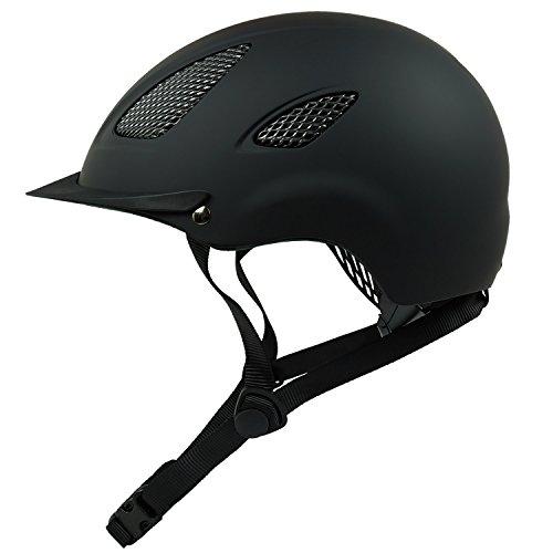 Reithelm Reitkappe K31 für Kinder und Erwachsene in der Farbe schwarz, inkl. praktischer Helmtasche für den Transport und zur Aufbewahrung (52-56 cm)