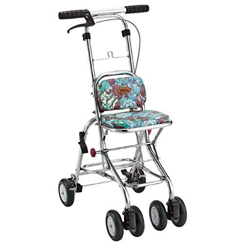 Einkaufstrolleys/Einkaufswagen, Krücken, zusammenklappbar, tragbar, mit 4 Rädern, leichtgewichtig, 80 kg, Aluminiumlegierung, grün, 38.5 * 50 * 81cm