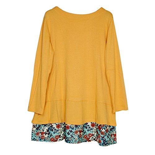 LAEMILIA Femmes Robe Mini Sweat-shirt Printemps Fleur Imprimé Manches Longues Col Rond Lâche Blouse Hauts Jaune