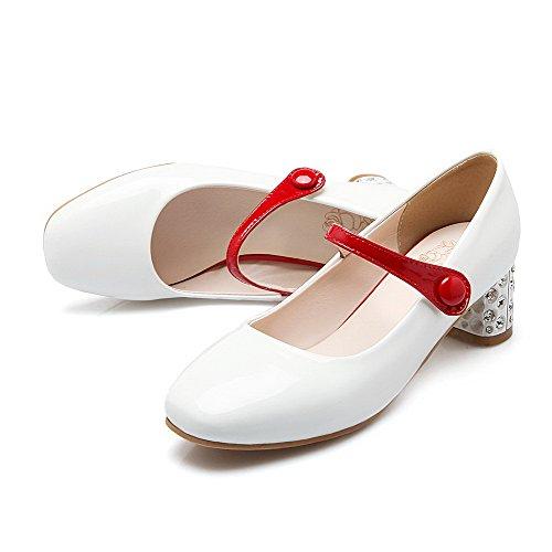 AllhqFashion Femme Carré Fermeture D'Orteil à Talon Correct Couleurs Mélangées Tire Chaussures Légeres Blanc