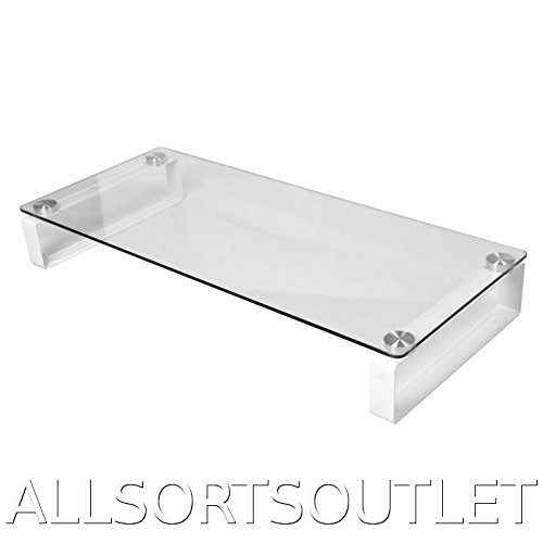 Large Clear Transparent Glass Tv Television Computer Monitor Stand Shelf Riser Plinth (For Ps3/ps4, Nintendo Wii, *some* Sky Or Freeview Box, Etc)