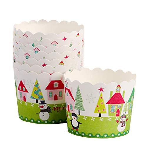 Beiersi Cupcake Förmchen,Muffin Förmchen Papier Cupcake Wrappers 24 Stück Muffin Deko Fällen Liner Kuchen Hohe Temperaturbeständige Backen Tassen Dekoration Weihnachten Halloween (Weiß)