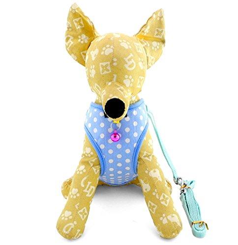 zunea Polka Dots Mesh Gepolsterte Kleiner Hund Weste Gurt und Leine Set verstellbar atmungsaktiv Pet Dog Walking Leine Sicher Plaid Hund Leine Und Halsband Set