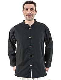 - Chemise basique ethnique asiatique col mao boutons bois noire -