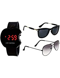 APP-006 Sheomy Unisex Combo Pack of Sunglasses and LED Digital Black Dial Apple Shape Watch Best Online Gifts