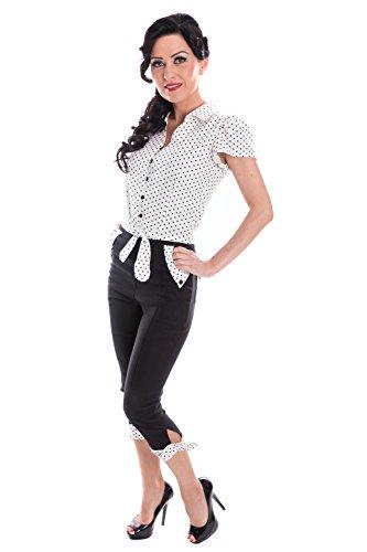 SugarShock Damen Rockabilly POLKA DOTS Caprihose 148282892 Schwarz XXL (Dot Capri-outfit)