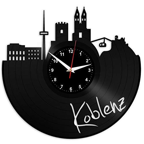 EVEVO Koblenz Wanduhr Vinyl Schallplatte Retro-Uhr groß Uhren Style Raum Home Dekorationen Tolles Geschenk Wanduhr Koblenz