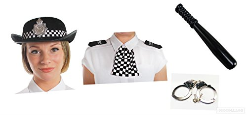 Police woman set of 4 items EPAULETTES Hat Truncheon and hand cuffs Fancy dress Hen ()