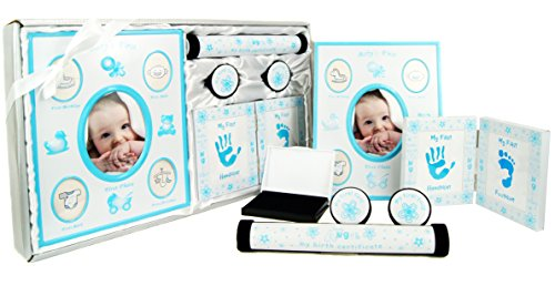 New Baby Boy Gift 5 Piece Keepsake Set First Photo Frame, Curl and Tooth Box, Handprint Footprint Prints Kit Blue White