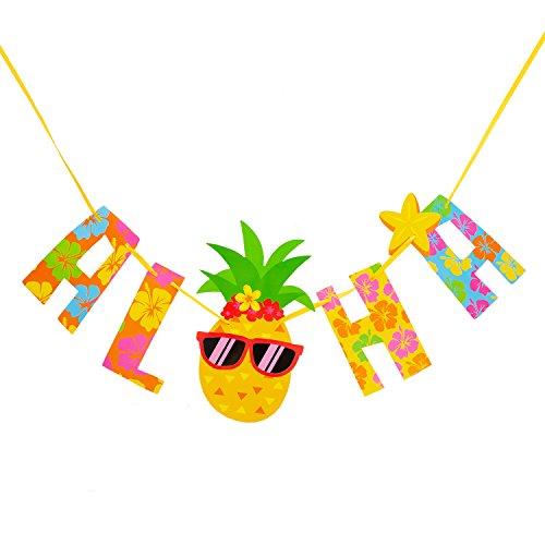 Oblique Unique® Girlande Aloha mit Ananas Banner für Sommer Hawaii Party Geburtstag Feier Deko bunt