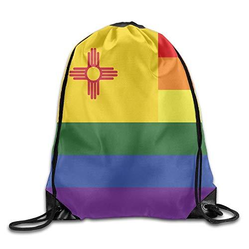 HLKPE Rainbow Flag New Mexico Cute Gym Drawstring Bags Travel Backpack Tote School Rucksack