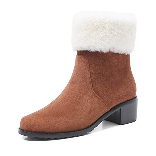 Gesteppte Faux Leder Schuhs (LFEU Damen Ankle Booties Warm Faux Wildleder Herbst Winter Zip Baumwolle Schuhe Runde Kappe Quadratische Fersen Weibliche Warme Schneeschuhe)