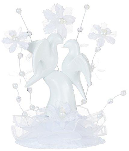 Günthart Porzellan Aufsatz mit Hochzeits-Tauben und Blumendekoration, verpackt in dekorativem Sichtkarton, 1er Pack (1 x 220 g)