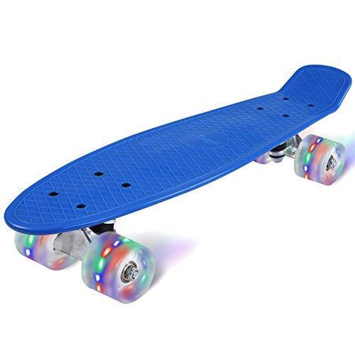 Physionics ABEC 5 Skateboard Cruiser Board mit LED Leuchtrollen Rollbrett Retro-Board in verschiedenen Farben
