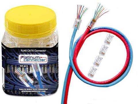 RJ45 durchlaufen Kabel Verbinder von Platinum Connector (CAT6 (50 Stück)) (Rj45-stecker Bulk)