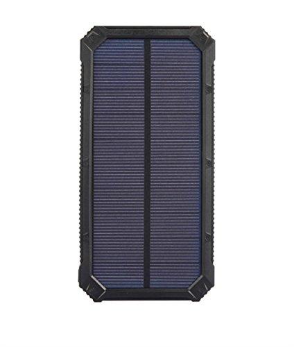 Dual USB Port Solar Ladegerät 10000mAh Portable Power Bank mit LED Taschenlampe für Handys und andere USB Geräte , black