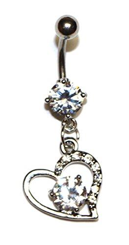 JEWELS Fashion Roestvrijstalen bengelen hart w / A Big Diamond in het midden Belly Ring - Ringe Belly Big