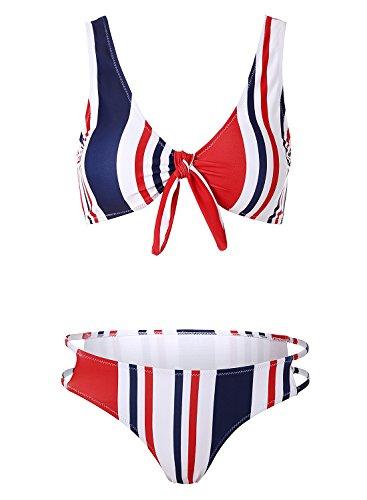 Blooming Jelly Frauen Triangle Streifen Bikini Badeanzug Schwimmen Kostüm für Damen M, bunt (Frauen Schwimmen Kostüme)