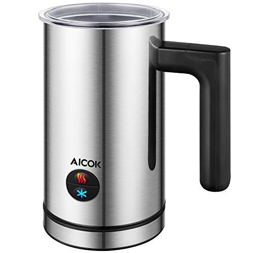 Aicok Milchaufschäumer Elektrisch, Edelstahl, Milk Frother, Automatisch, Premium Milchschäumer, 300ml Große Kapazität, Warm und Kaltaufschäumen für Kaffee, Latte, Cappuccino, antihaftbeschichtet
