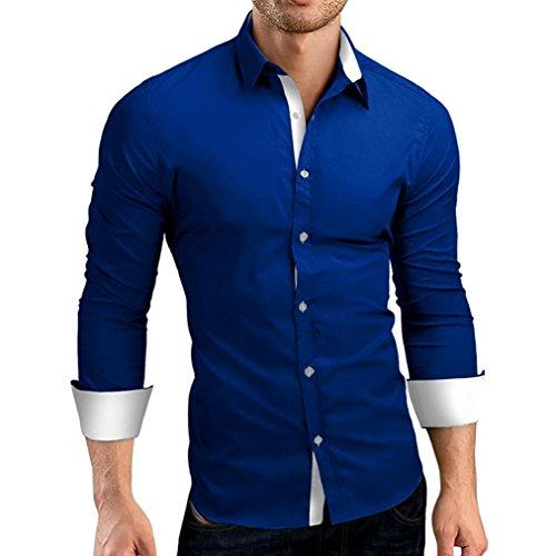 Top da uomo a maniche lunghe con pannello sottile da uomo,camicia da uomo stampato slim fit manica lunga maniche casual camicia formale top camicetta,camicia coreana uomo(blu,m)
