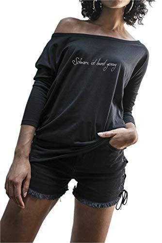 Fledermaus Langarm T-shirt (Statement T-Shirt Schwarz ist bunt genug Damen | schwarzes Fun Sommer Tshirt für Frauen Fledermaus Langarm 34-36 (Hersteller S))