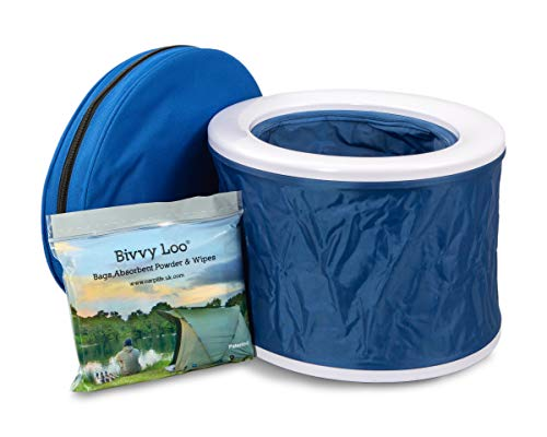 Bivvy Loo Blau - Tragbare Camping WC -Campingtoilette - Festival WC - Angeln Toilette - Outdoor Camping WC - Falten weg Wohnung - Unterstützt über 150kg - Camping Toilette - Portable Toilette