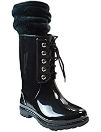 LvRao Frauen Gummistiefel Regen Schnee Wasserdichte Hohe Knöchel Lange Wellington Garten Schuhe Weinrot 40 8hdaTti45F
