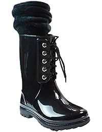 LvRao Frauen Gummistiefel Regen Schnee Wasserdichte Hohe Knöchel Lange Wellington Garten Schuhe Weinrot 40