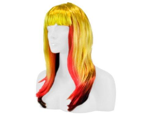 Parrucca liscio a lungo Fasching tutti colore Carnavale, langhaar glatt länder:schwarz rot gelb_1