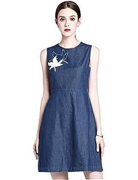 vestido y largas secciones de la cintura nueva cuello redondo sin mangas de mezclilla 2017 verano , blue , l
