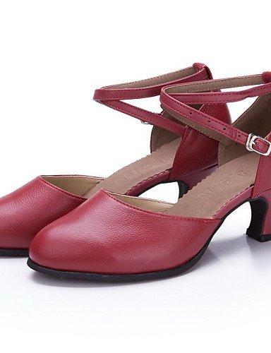 ShangYi Chaussures de danse ( Autre ) - Non Personnalisables - Talon Cubain - Cuir / Cuir Verni - Latine / Jazz Burgundy